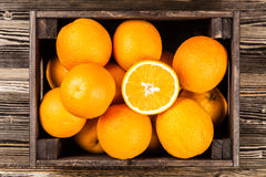 Fresh oranges in a crate Stock Image