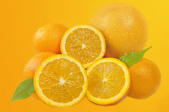 Fresh oranges fruits composition Royalty Free Stock Image