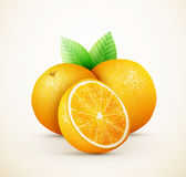 Fresh oranges fruits with green leaves and slices Royalty Free Stock Photos