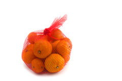 Fresh Oranges Fruits. In Mesh From Supermarket Royalty Free Stock Photography