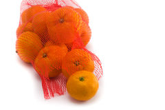 Fresh Oranges Fruits. In Mesh From Supermarket Stock Photo