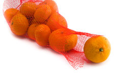 Fresh Oranges Fruits. In Mesh From Supermarket Royalty Free Stock Photo