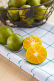 Fresh oranges. For healthy on the white cotton Royalty Free Stock Photography