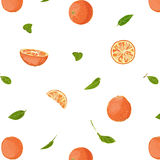 Fresh Oranges and Leaves Seamless Pattern Stock Photos