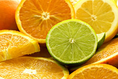 Fresh Oranges and Lime Stock Photo