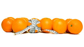 Fresh oranges with measuring tape Stock Photos