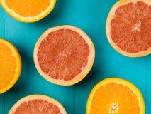 Fresh Oranges and Pink Grapefruits Citrus Fruit Stock Photo