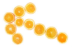 Fresh oranges rings arranged in arrow. Royalty Free Stock Images