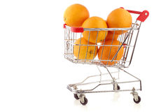 Fresh oranges in a shopping cart Stock Photography