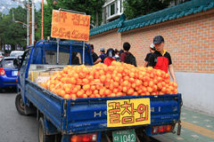 Fresh oranges stall pick up in the car for selling Royalty Free Stock Photos