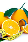Fresh oranges and tape measure royalty free stock photography
