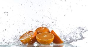 Fresh oranges with water splash Stock Image
