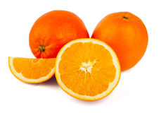 Fresh oranges on a white background Royalty Free Stock Photo