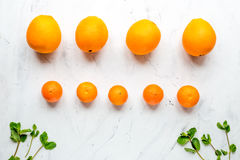 Fresh oranges on white background top view mock up Royalty Free Stock Photo