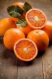 Fresh Oranges on wooden table Royalty Free Stock Photo
