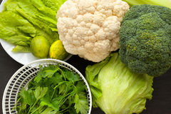 Fresh Organic Assorted Green Vegetables royalty free stock image