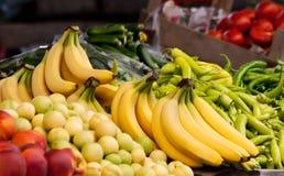 Fresh Organic Banana, Peach, Nectarine And Peppers Stock Image