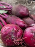 Young beets on wooden table. stock photo