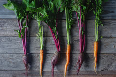 Fresh organic beet and carrot on rustic wooden background, healthy lifestyle, autumn harvest, raw vegetables, top view. Fresh organic beet and carrot on rustic Royalty Free Stock Images