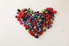 Fresh organic berries heart Royalty Free Stock Photography