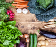 Fresh organic bio vegetables on wooden background. Fresh and organic bio vegetables on a wooden background Stock Image