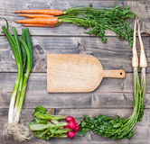Fresh organic bio vegetables on wooden background. Fresh and organic bio vegetables on a wooden background Stock Images
