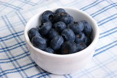 Fresh organic blueberries in a white bowl. Some fresh organic blueberries in a white bowl Royalty Free Stock Photo