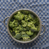 Fresh organic broccoli in a metal sieve on a blue checkered kitc Stock Photo
