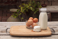 Fresh organic brown eggs, milk and cheese Royalty Free Stock Images