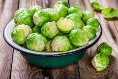 Fresh organic Brussels sprouts in a bowl Royalty Free Stock Photography