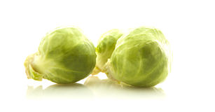 Fresh organic brussels sprouts. Isolated on white Royalty Free Stock Photography