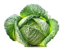 Fresh organic cabbage head isolated on white Royalty Free Stock Photography
