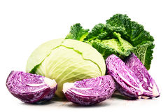 Fresh organic cabbage heads isolated on white Stock Images