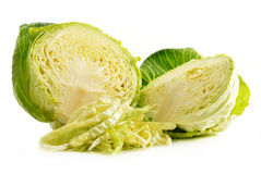Fresh organic cabbage on white. Background Stock Photos