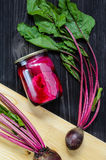 Fresh Organic and Canned Beetroots Background stock images