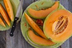 Fresh organic cantaloupe melon Royalty Free Stock Images