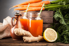 Fresh organic carrot juice Royalty Free Stock Images