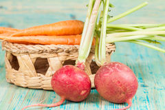 Fresh organic carrots and beetroot. On wood Stock Photos