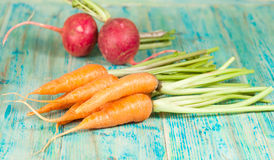 Fresh organic carrots and beetroot. On  wooden Royalty Free Stock Photo
