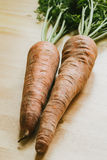 Fresh organic carrots leaves on wooden background Royalty Free Stock Image