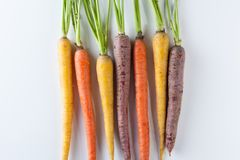 Fresh Organic Carrots Raw Colorful Bunch Isolated On White Backg Royalty Free Stock Photography