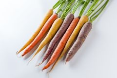 Fresh Organic Carrots Raw Colorful Bunch Isolated On White Backg Royalty Free Stock Image