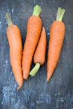 Fresh Organic Carrots on wooden background Stock Images