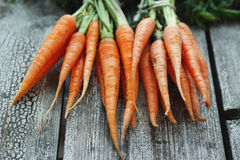 Fresh organic carrots on wooden background, selective focus Royalty Free Stock Photos