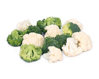 Fresh organic cauliflower and broccoli. Separated on white background Stock Images