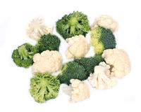 Fresh organic cauliflower and broccoli. Separated on white background Royalty Free Stock Photography