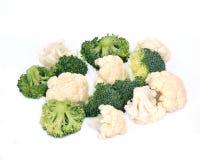 Fresh organic cauliflower and broccoli. Separated on white background Stock Photo