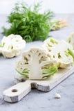 Fresh organic cauliflower on cutting board Royalty Free Stock Photography