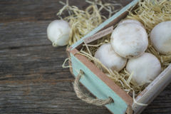 Fresh organic champignon mushrooms on wood background.  Royalty Free Stock Image