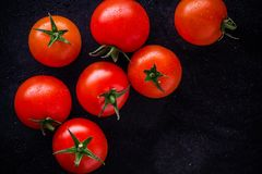 Fresh organic cherry tomatoes with drops Royalty Free Stock Image